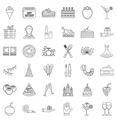 entertainment icons set outline style vector image