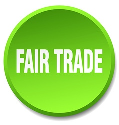 Fair trade green round flat isolated push button vector