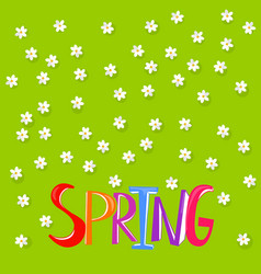 Floral background with spring word vector