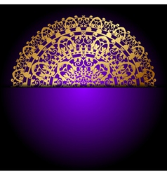 gold ornament purple background vector image vector image