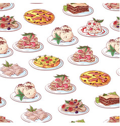 Italian cuisine dishes on white background vector
