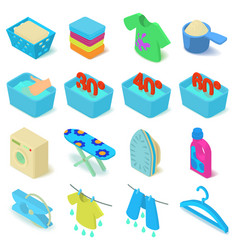 laundry icons set isometric style vector image vector image