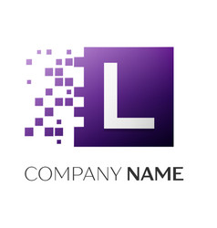 Letter l logo symbol in the colorful square with vector