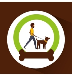 Man walking a brown dog vector