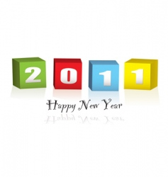 New year wood blocks 2011 vector