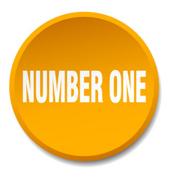 Number one orange round flat isolated push button vector