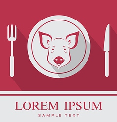 Pig fork and knife icon vector