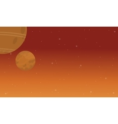 planet space on orange background vector image vector image