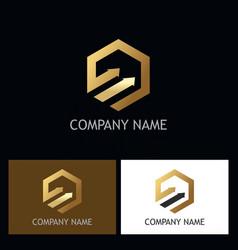 polygon arrow gold logo vector image
