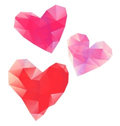 Polygonal red hearts on white background banner vector image