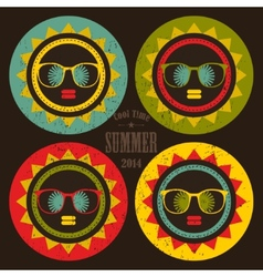 Set of colorful sun labels with woman face in it vector