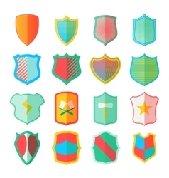 Shield icons set in flat style vector image