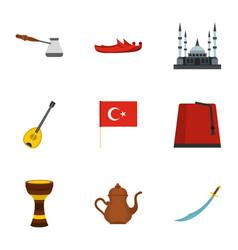 Turkey stuff icons set flat style vector