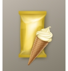 Vanilla banana ice cream waffle cone with foil vector