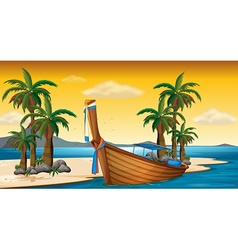 Wooden boat on the shore vector