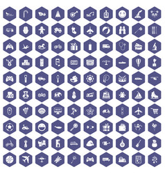 100 toys for kids icons hexagon purple vector