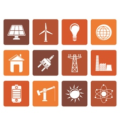 Flat power energy and electricity icons vector