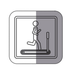 Person jogging on a machine icon vector