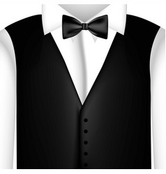 sticker shirt with bow tie and waistcoat vector image