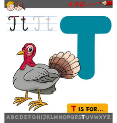 Letter t with cartoon turkey vector