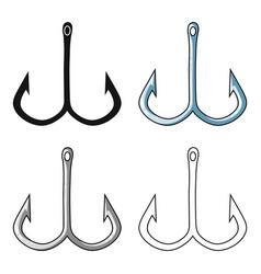 fishing hook icon in cartoon style isolated on vector image