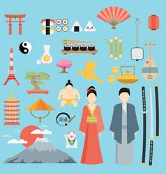 flat japan icons and symbols set on japanese theme vector image