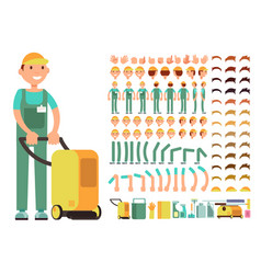 Professional man cleaner in cleaning service vector
