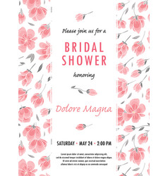Invitation bridal shower card withsakura flowers vector