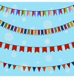 Set of festive colored flags on curved ropes vector