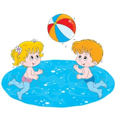 Children play a ball in water vector