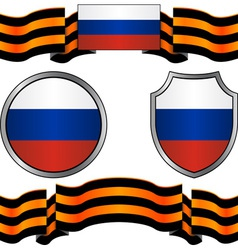 Flag of russia and georgievsky ribbon vector