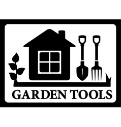 Black frame with house and tools for gardening vector