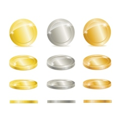 Gold silver and copper coins vector