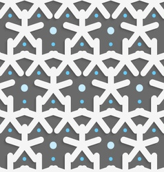 White shapes with blue dots on dark gray pattern vector