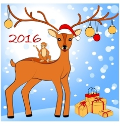 2016 new year card with monkey and deer vector