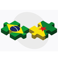 Brazil and french guiana flags vector