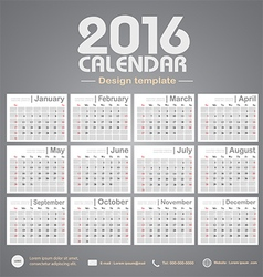 Calendar 2016 gray color tone background design vector