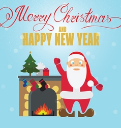 Christmas poster design with santa claus fireplace vector