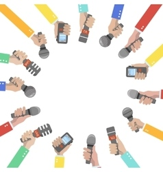 Set of hands holding microphones and voice vector