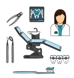 Dentist with tools and equipments colored sketch vector