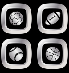 silver sport icons vector image