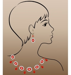 Woman with jewelry necklace and earrings vector