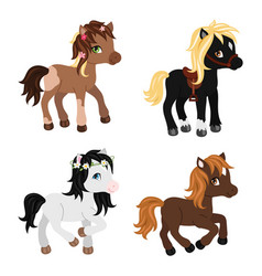 adorable cartoon horses characters vector image vector image