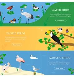 Birds horizontal banners set vector