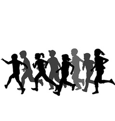 Children silhouettes running vector image