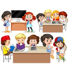 Children studying at their desk vector