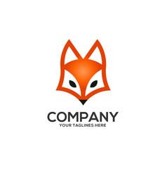 creative fox head logo vector image vector image