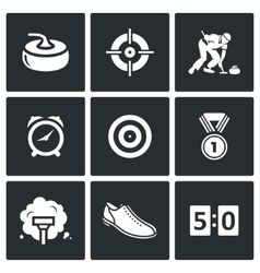 Curling icons set vector image vector image