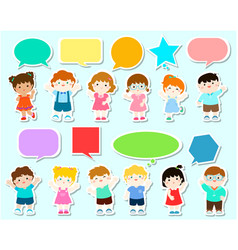 cute kids with speech bubbles vector image vector image