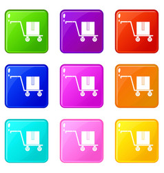 Delivery cart with box icons 9 set vector